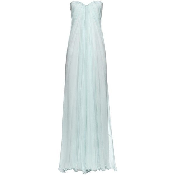 98d18dbadd291 Alexander McQueen Bustier-top silk-chiffon gown ($2,064) ❤ liked on  Polyvore featuring dresses, gowns, strapless gown, light blue, strapless  bustier, ...