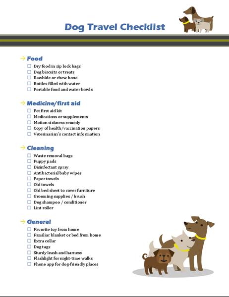 Dog Travel Checklist Dog Travel Travel Checklist Travel
