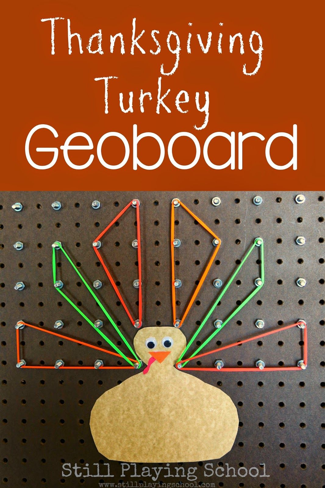 Thanksgiving themed geoboard activity for kids to build a turkey while working on math concepts