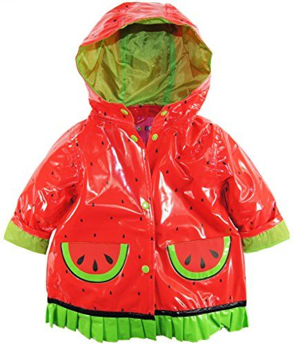 Wippette Baby Girls Infant Waterproof Hooded Ruffle Watermelon Raincoat  Jacket Tomato 12 Months -- Check out the image by visiting the link. 623609ca0bc1