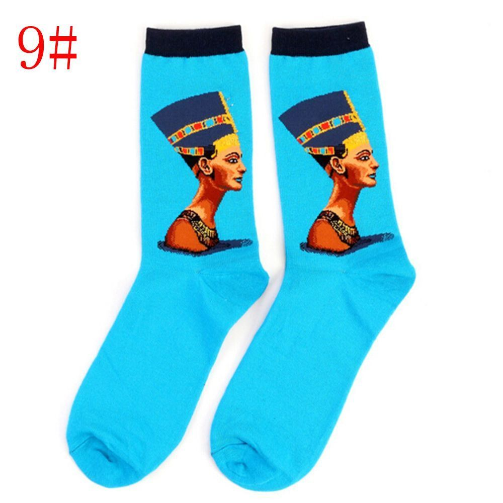 1Pair Retro Vintage Unisex Women Men Modern European Styles Fashion Renaissance Van Gogh Art Oil Painting Warm Cotton Socks Hot