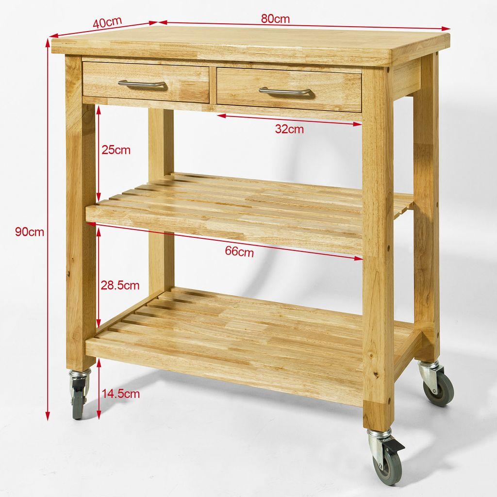 sobuy servierwagen aus gummi holz k chenwagen rollwagen. Black Bedroom Furniture Sets. Home Design Ideas