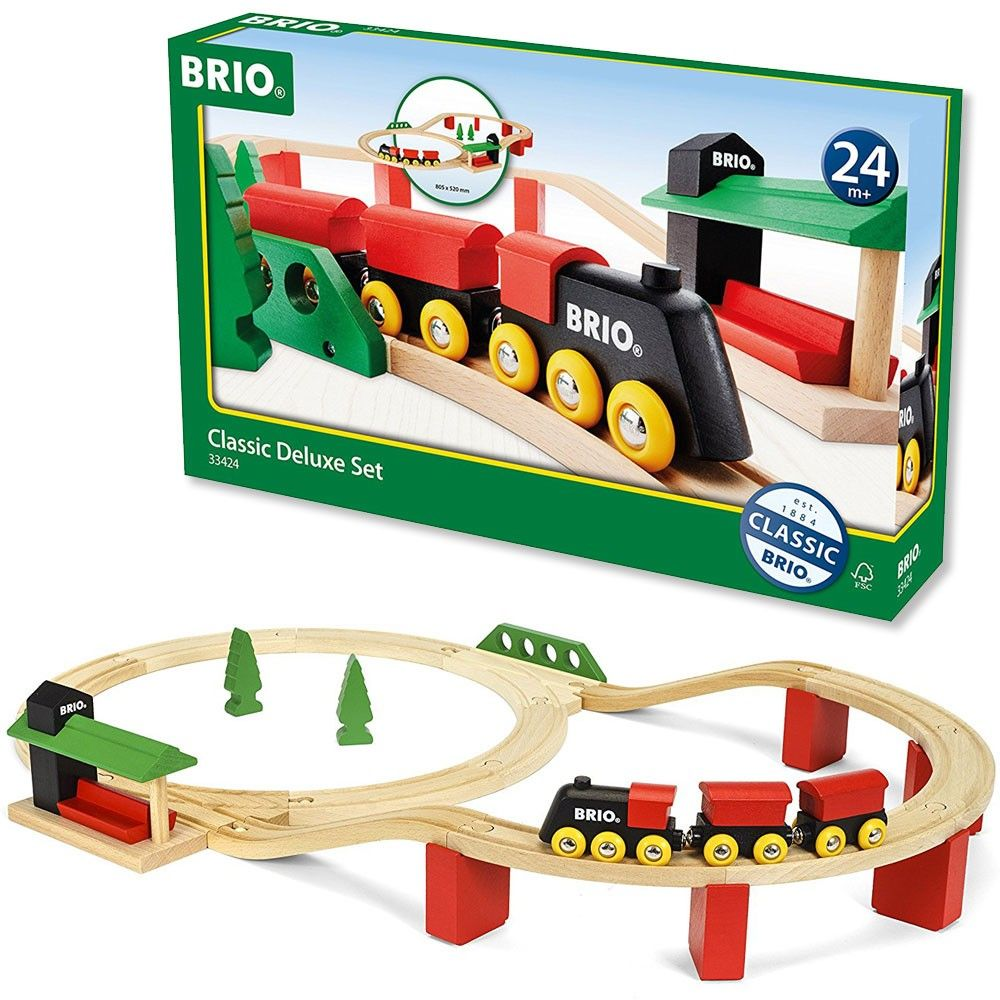 kids and parents will love this new brio classic deluxe 25 pieces train set for its open ended. Black Bedroom Furniture Sets. Home Design Ideas