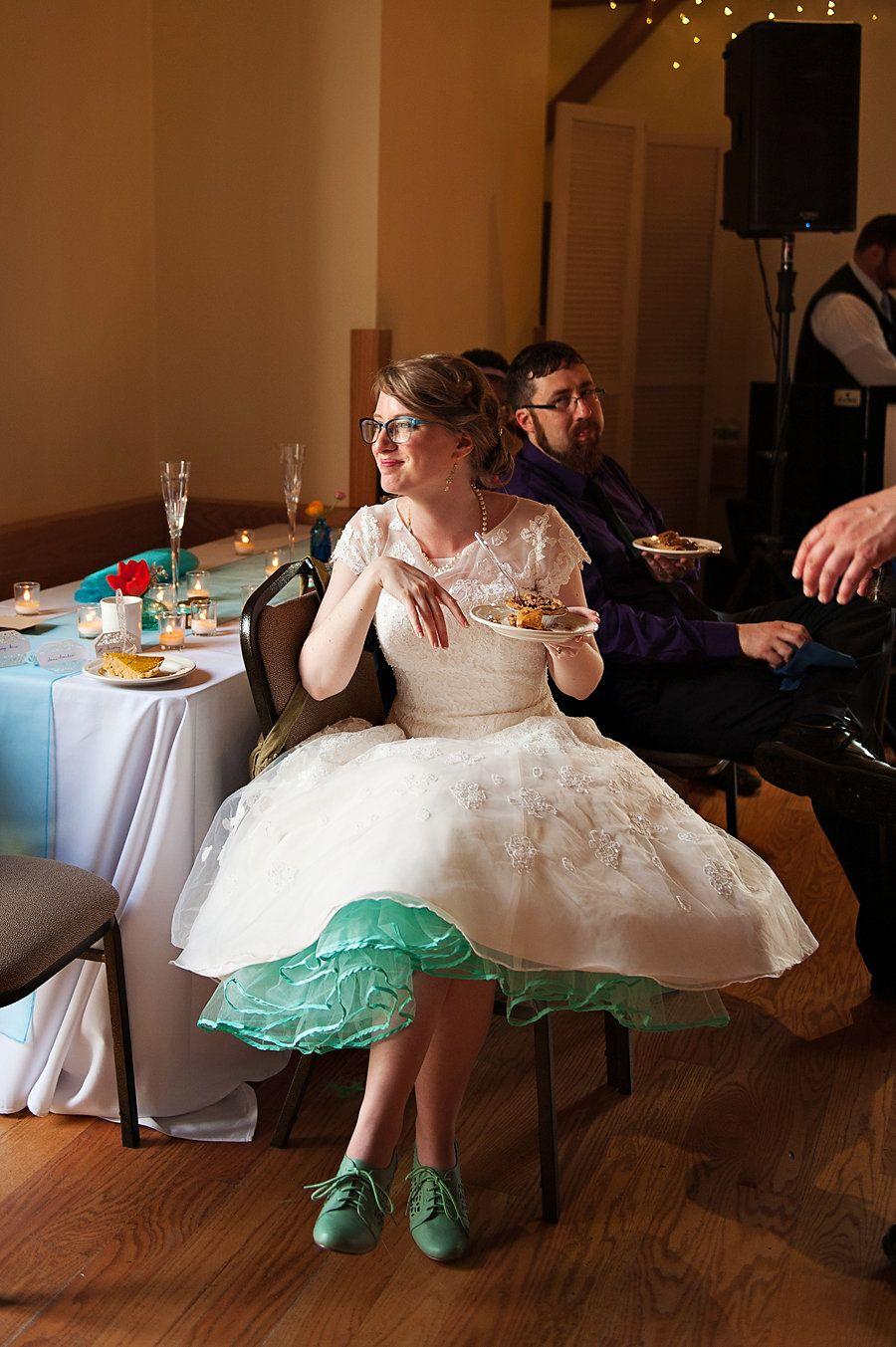 Oleg Cassini Cmk513 Tea Length Wedding Dress With Teal
