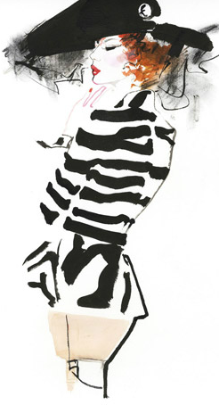 David Downton - Fashion Illustrator Research I've noticed whilst looking at David's work he usually focus's on one part in particular for the detail like this one for instance all the main detail is at the top and the rest is mainly block colours but I like that it shows you don't have to have loads going on and you can focus to one part of the illustration if you wish.