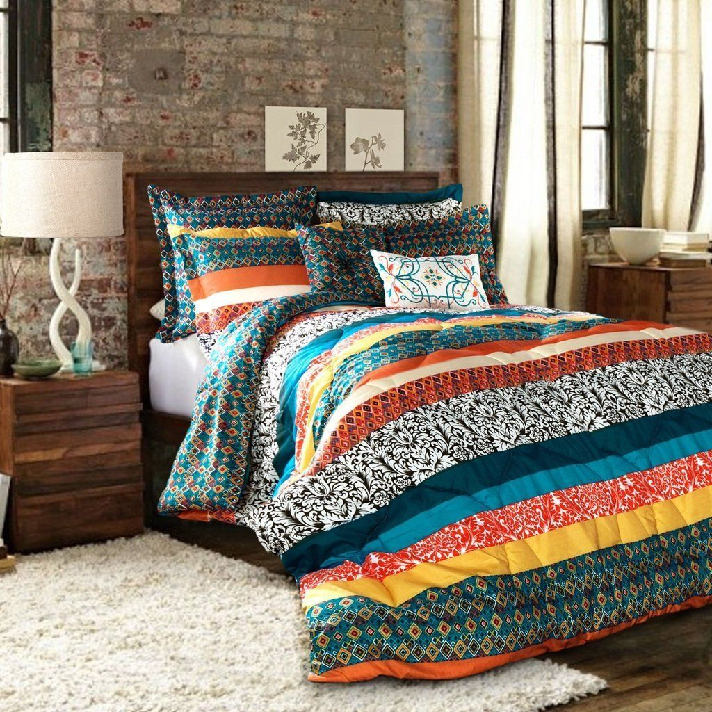 Full Queen Bohemian Comforter Set Indie Design Stripe