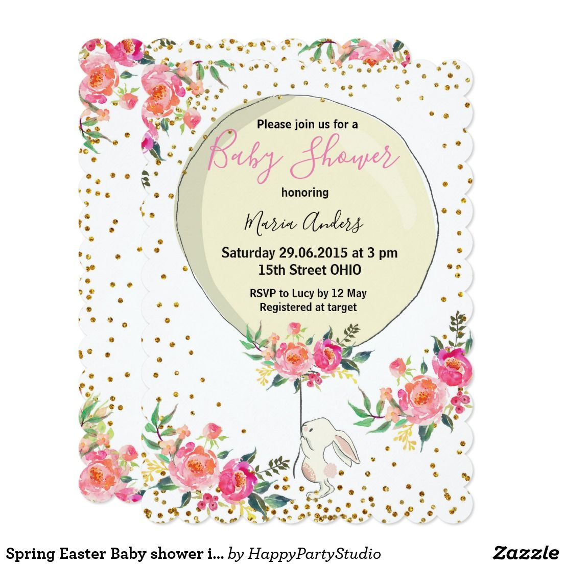 Spring Easter Baby Shower Invitation With Cute Bunny Balloon And Gold Confetti