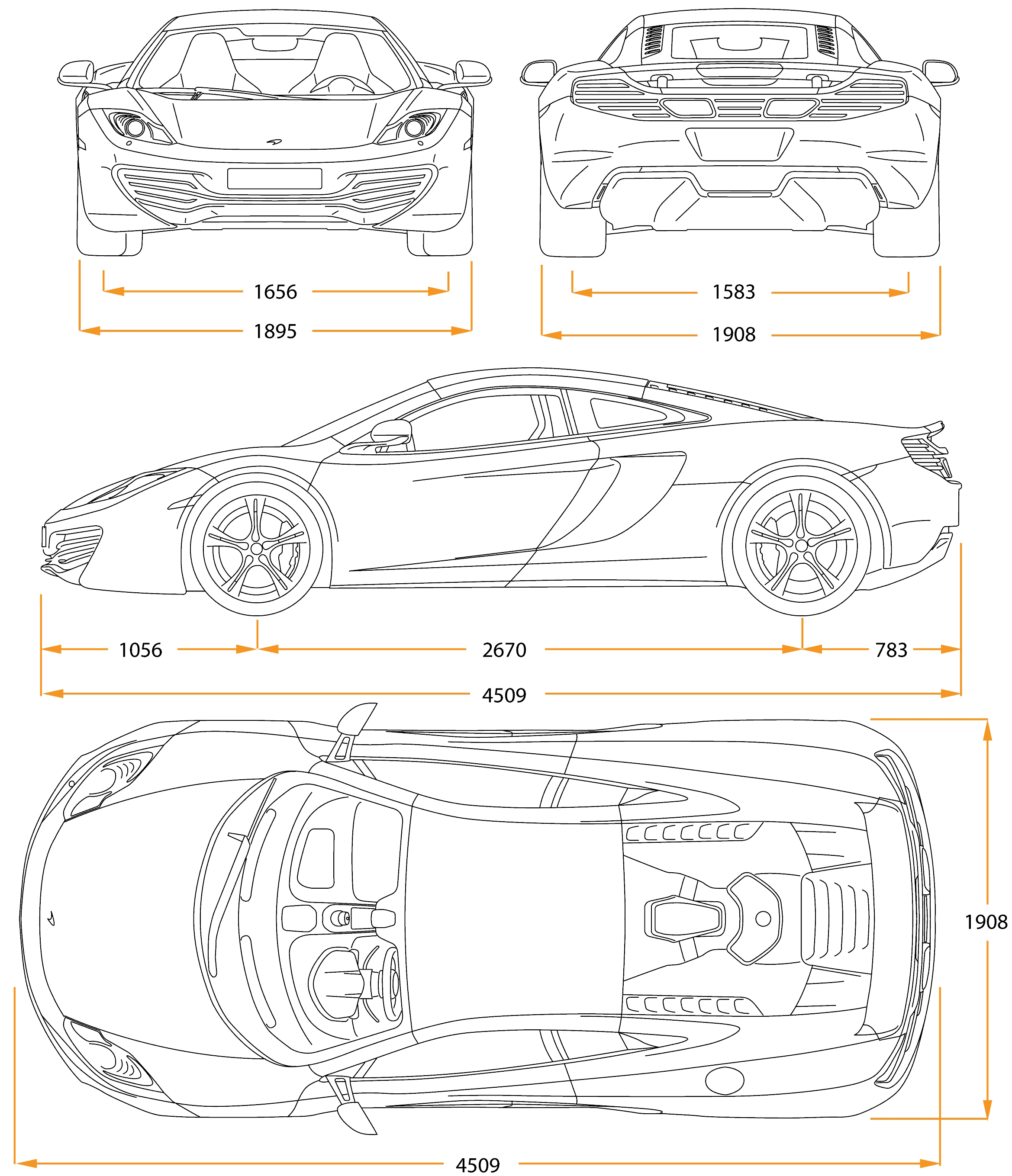 Mclaren 12c blueprint vehicle design pinterest mclaren 12c mclaren blueprints vector drawings clipart and pdf templates malvernweather Image collections