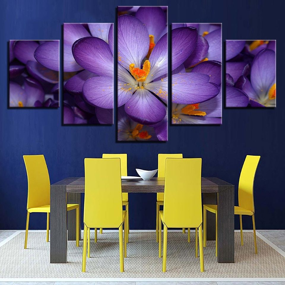 5 Pieces Beautiful Purple Flowers Paintings For Living Room Canvas