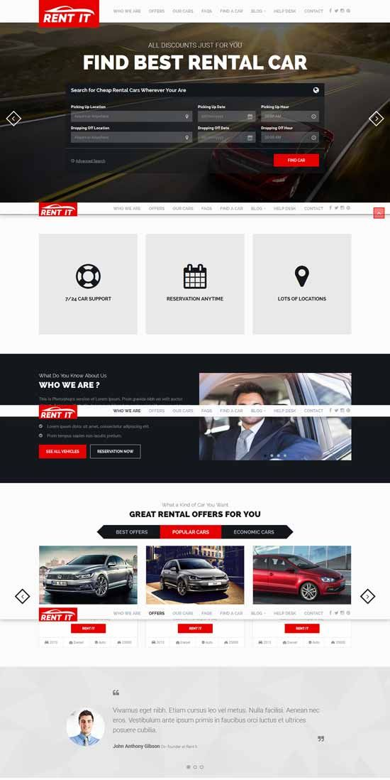 Car Rental Html Template Web Layouts Free Website