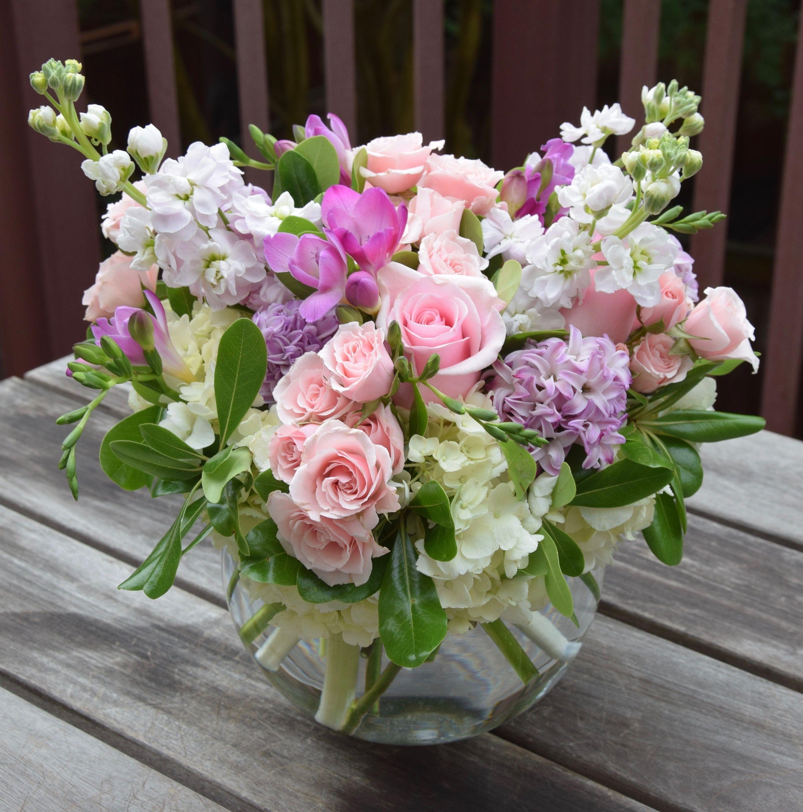 Fragrant Flower Arrangement For Mother S Day With Hydrangea Freesia Stock Spr Flower Vase Arrangements Fresh Flowers Arrangements Flower Arrangements Simple