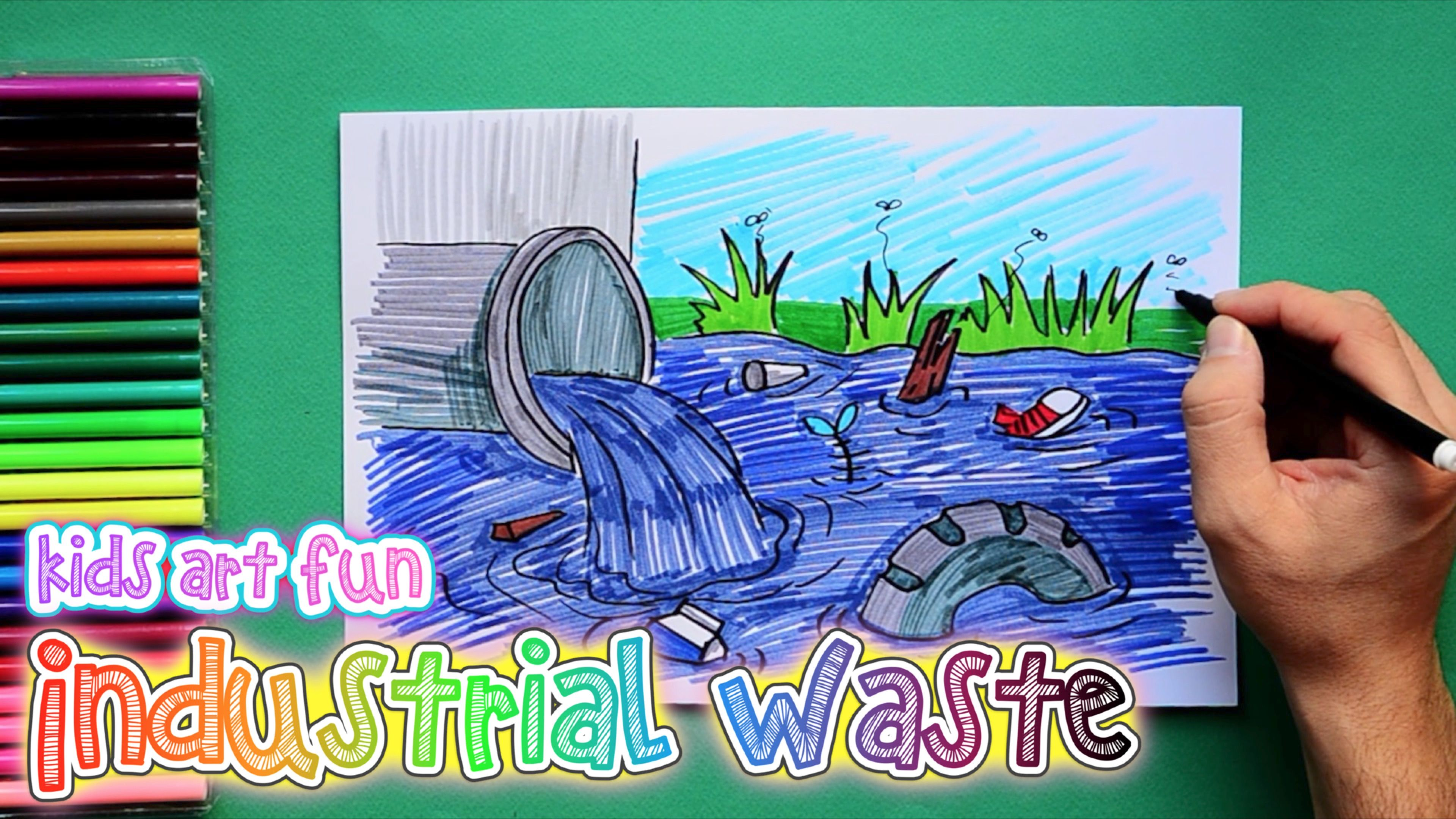 How To Draw And Color Industrial Waste Or Sewage Effluents Art