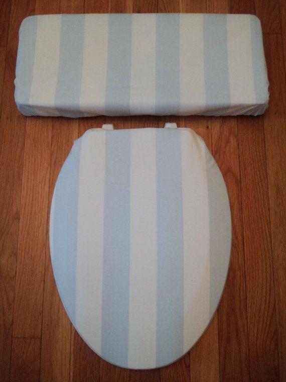 Strange Beach House Coastal Blue Stripe Toilet Seat Cover Set Gamerscity Chair Design For Home Gamerscityorg