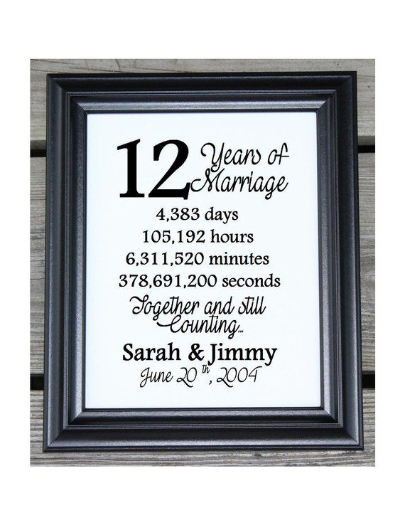 12th Wedding Anniversary Cotton Print 12th Wedding Gift 12 Years