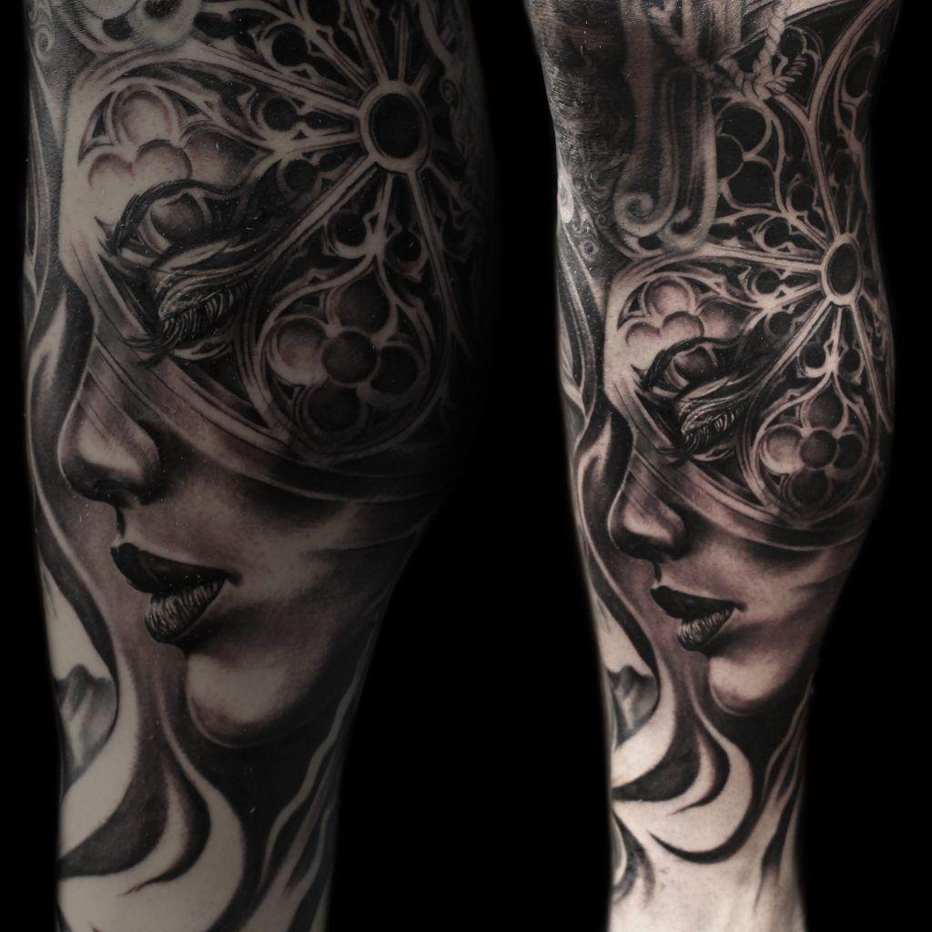 Face Sleeve Tattoo: Part Of A Leg Sleeve #tattoo #tattoos #tonymancia