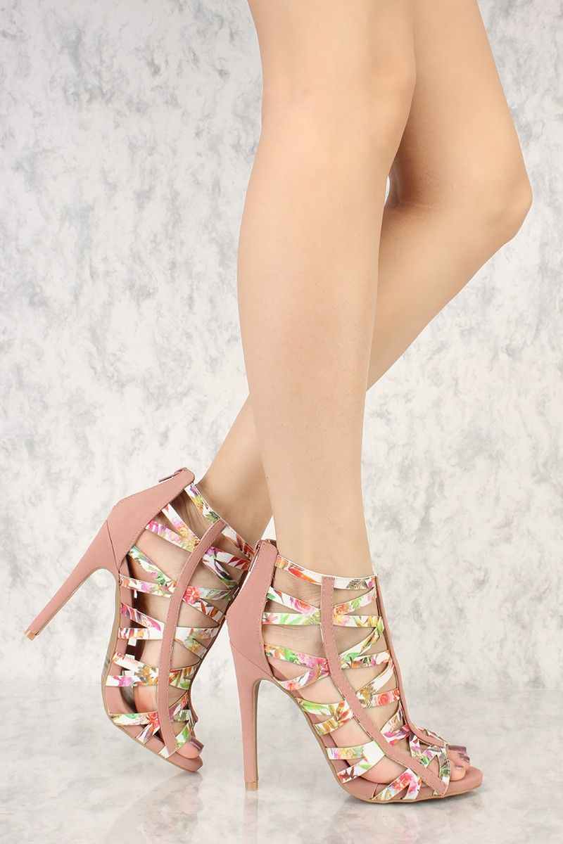 26d499179f Mauve Floral Strappy Open Toe Single Sole High Heels Nubuck Faux Leather