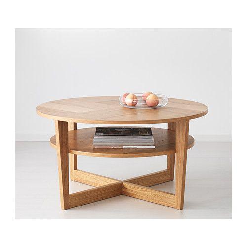 VEJMON Coffee Table Oak Veneer 90 Cm