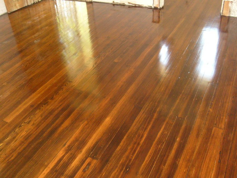 Dark Walnut Stain On Red Pine Floor