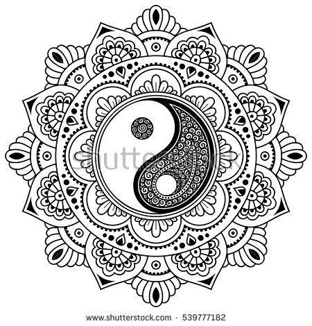 Vector henna tatoo mandala.Yin-yang decorative symbol. Mehndi style ...