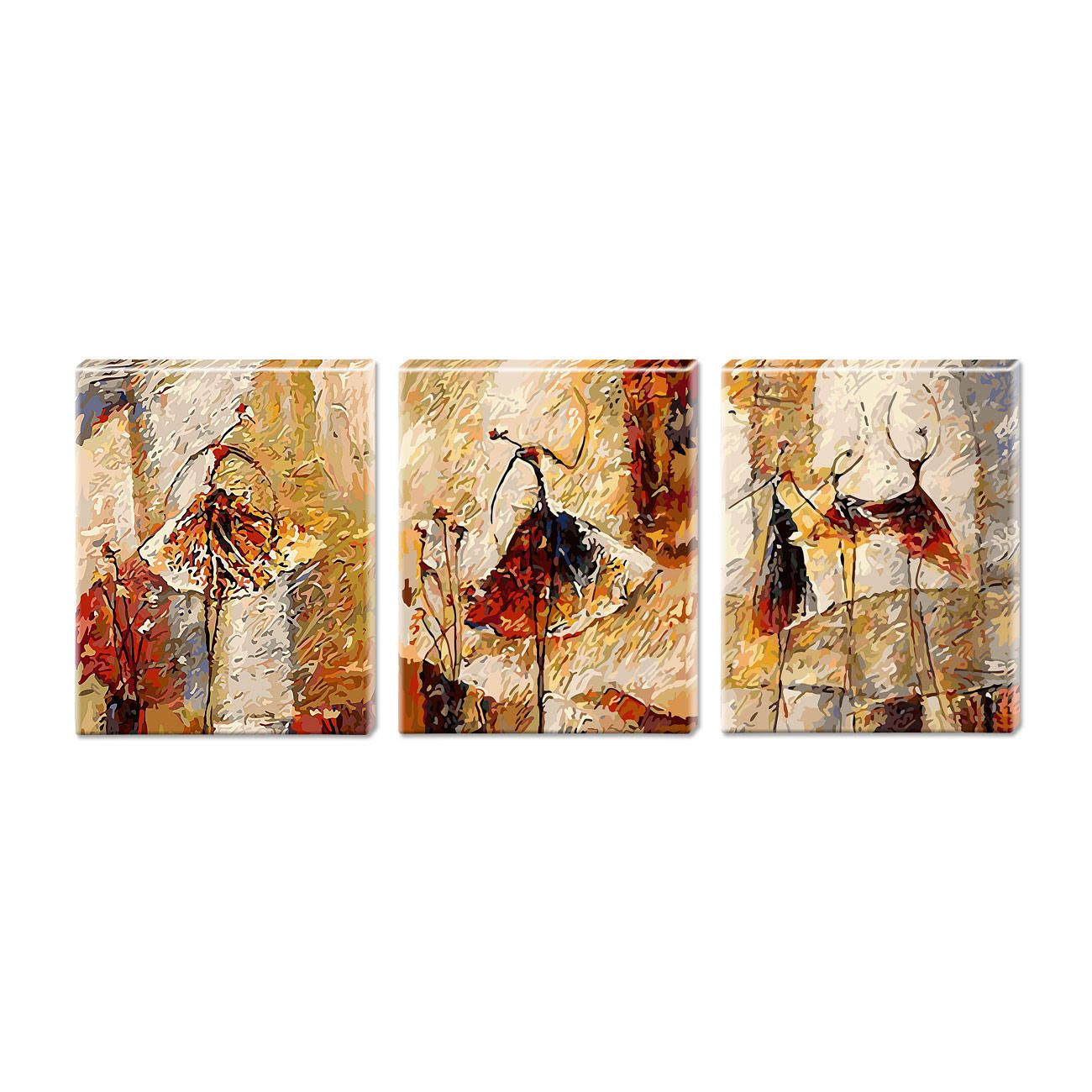 malen nach zahlen triptychon abstract woman strickanleitungen moderne abstrakte bilder stillleben kunst modern