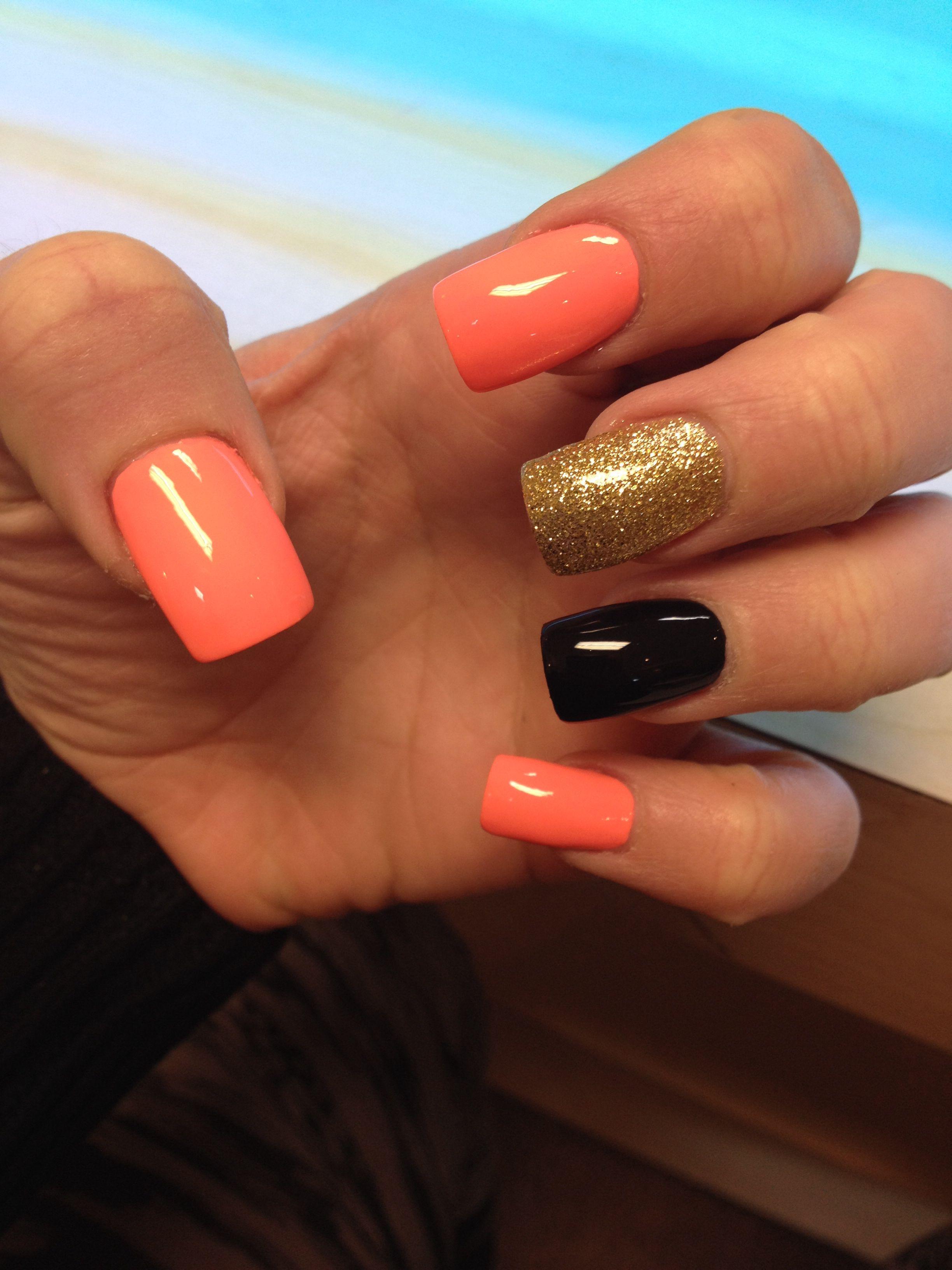 Nails Black Coral Gold Glitter Black Nails With Glitter Holiday Nails Glitter Nails