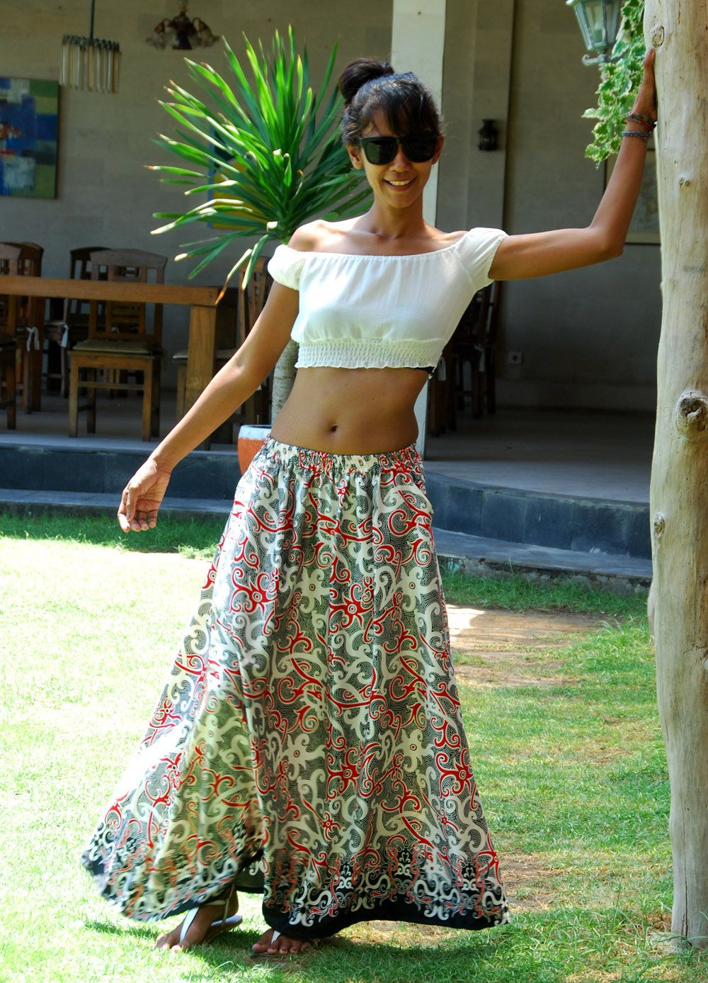 Ethnic Maxi Skirt in Red and White / Long Skirt with Pockets / Ikat Skirt / Summer Skirt / Elastic Waist by LoNaDesign on Etsy