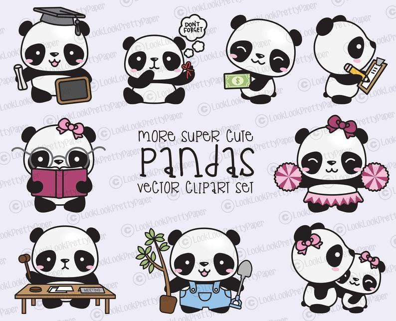 Premium Vector Clipart More Kawaii Pandas More Cute