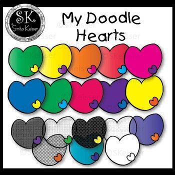 Hearts with Hearts Doodles Clip Art, Smita Keisser Clip Art *Freebie*
