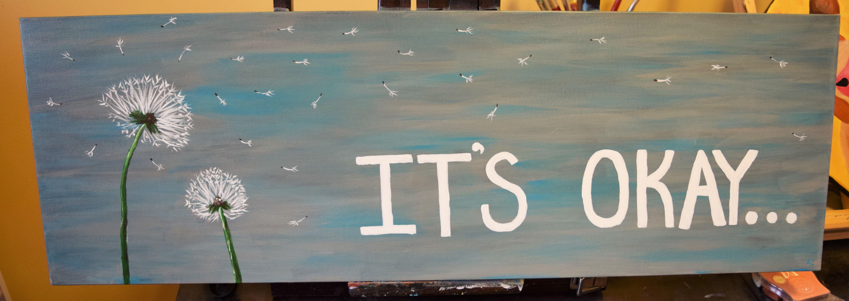 """It's okay"" - 12x36 - acrylic on canvas, by Amanda Clarke"