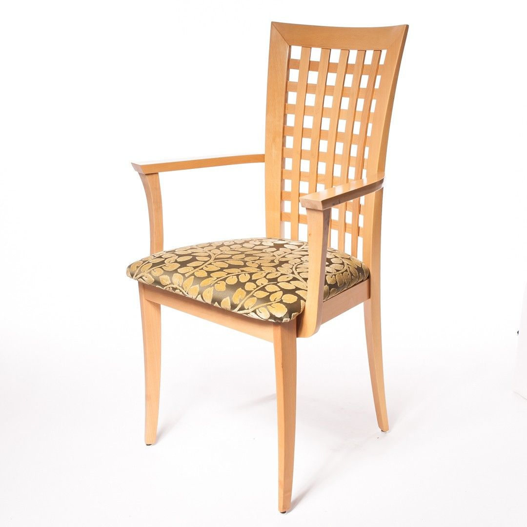 Set Of 12 Lattice Back Maple Dining Chairs 2 Arm 10 Side At DecorNYC