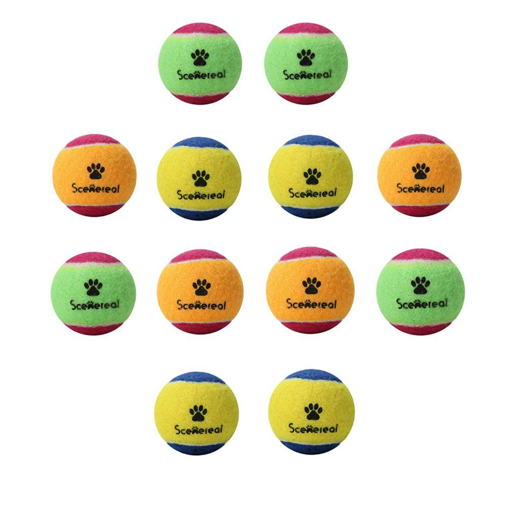 Scenereal Small Tennis Balls For Dogs 12pcs Set Squeaky Toys For Pets Playing And Training 1 6 Make Sure To Look In 2020 Tennis Balls For Dogs Squeaky Toys Dog Ball