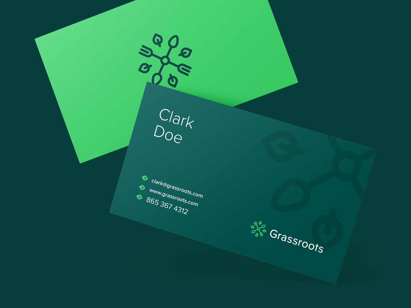Grassroots Business Cards Food Business Card Design Green Brand Identity Business Card Inspiration