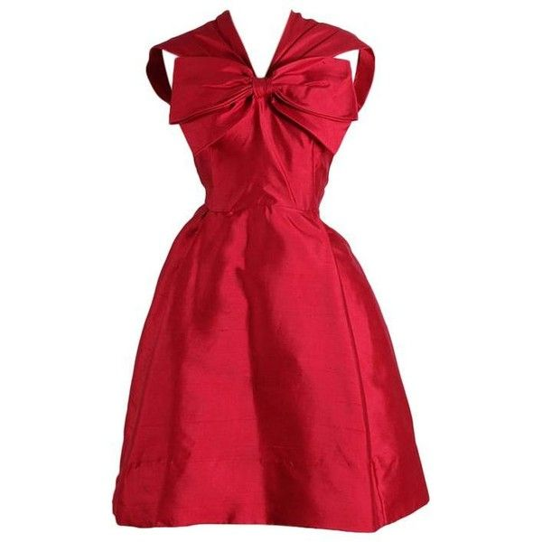 Preowned Vintage 1950s Miss Winston Silk Party Dress ($235) ❤ liked on Polyvore featuring dresses, multiple, button dress, silk dress, vintage cocktail dress, vintage dresses and red cocktail dress
