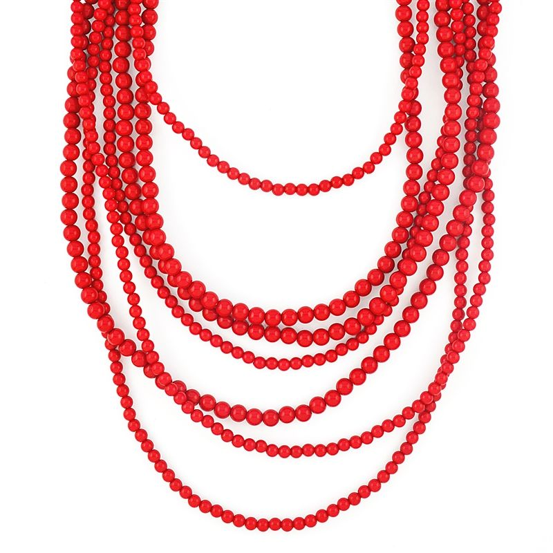 Bold Beaded Strands - multi-layered red necklace | Red necklace ...