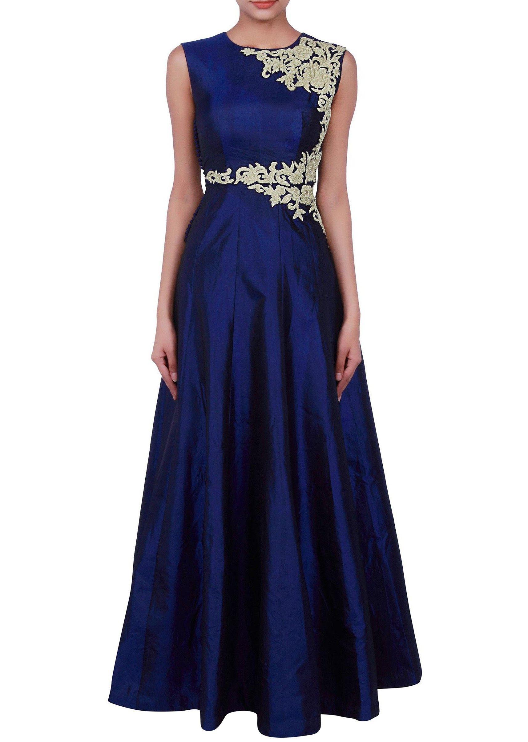 Raw Silk Dark Blue Prom Dress