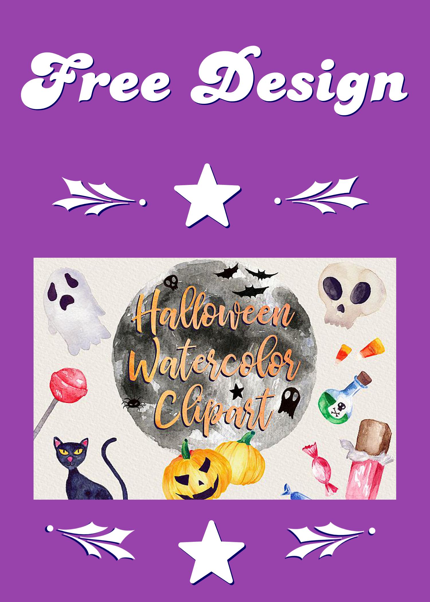 FreeDesignElement 😍 Halloween Watercolor Clip Art Pack