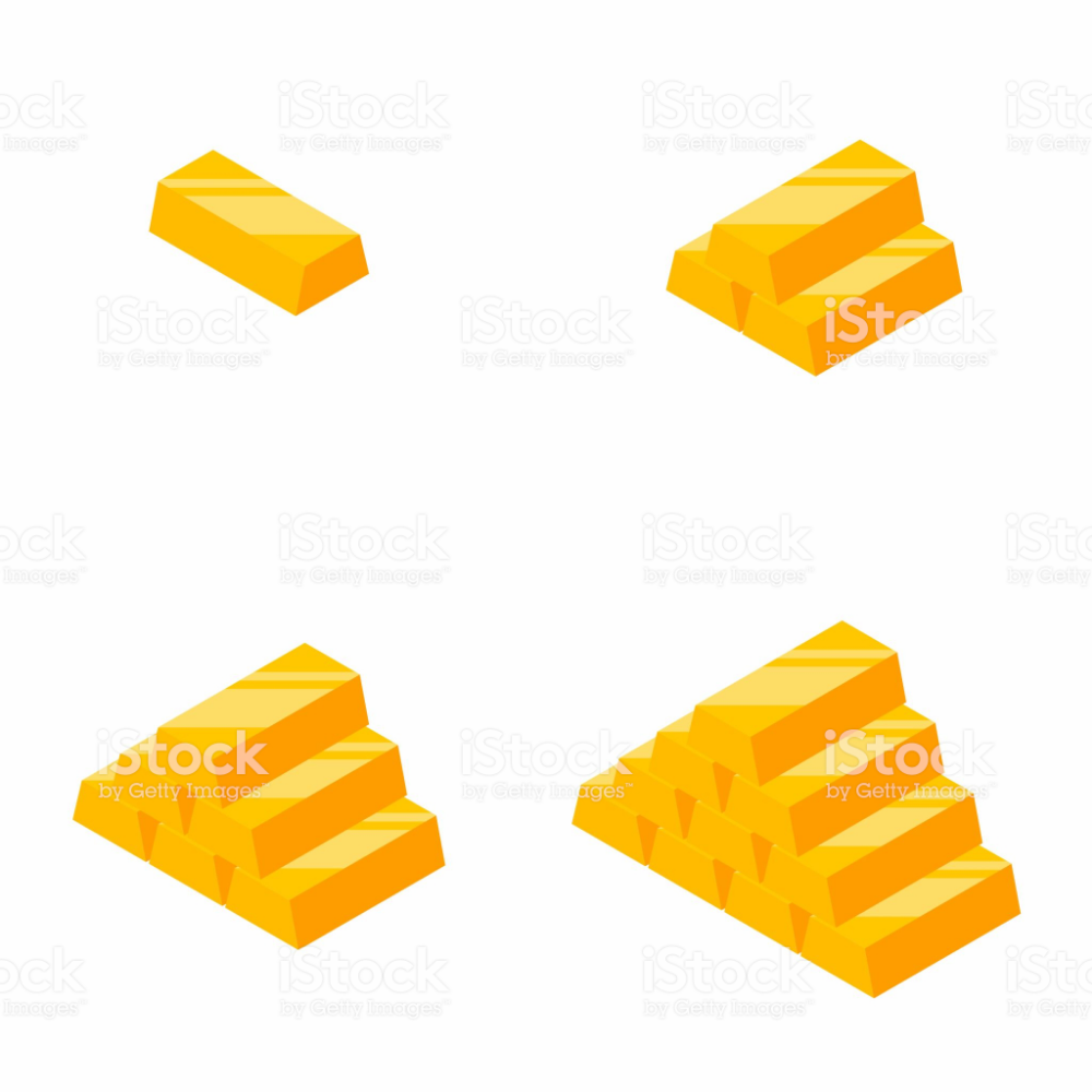 Gold Bars Pile Isometric Finance Business No Background Vector Isometric Gold Bar Vector