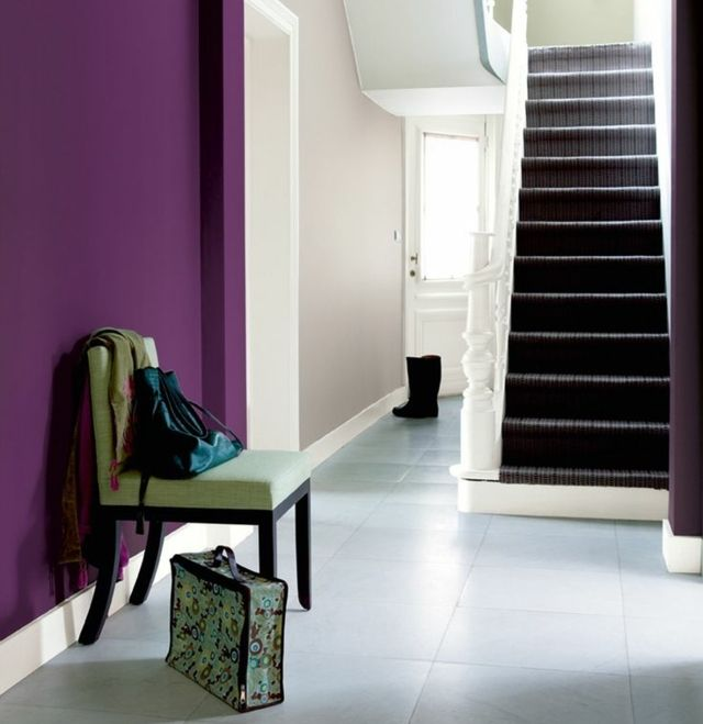 Hallway design ideas purple wall color beige pictures - Purple feature wall living room ideas ...
