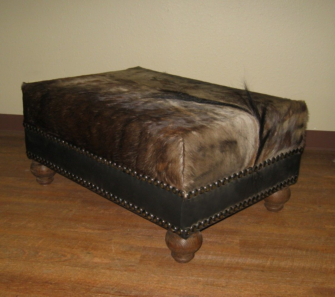 Blue Wildebeest Skin Ottoman With Nailhead Design