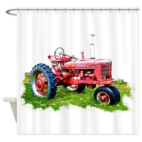 Red Tractor In The Grass Shower Curtain Boy Bathroom Red