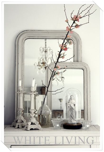 2 Mirrors, Candle Holders, Bottles.  Chalk Painted. Living Room Chippy, Shabby Chic, Whitewashed, Cottage, French Country, Rustic, Swedish decor Idea.. ***Pinned by oldattic ***.