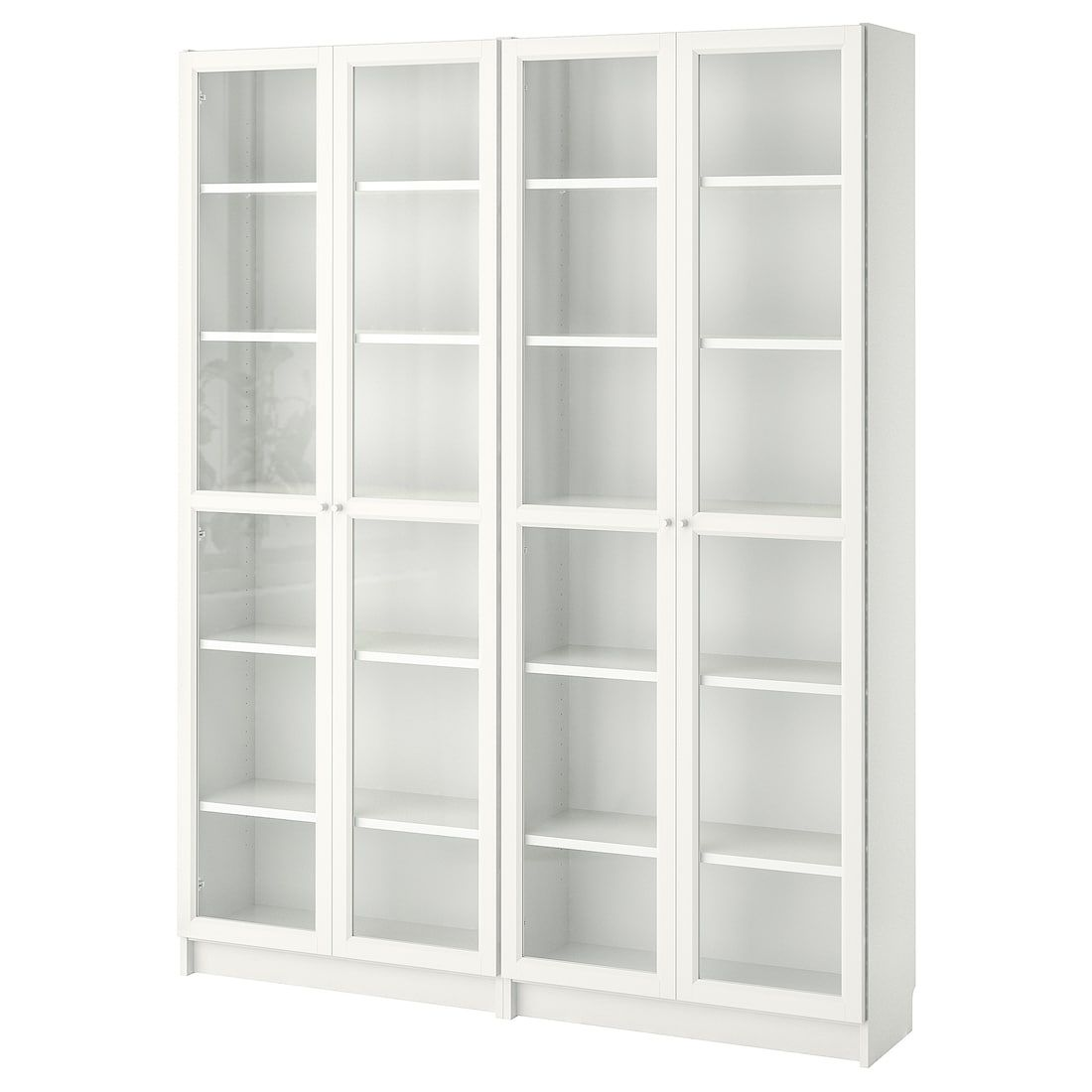 Billy Oxberg Bookcase With Panel Glass Doors White 63x11 3