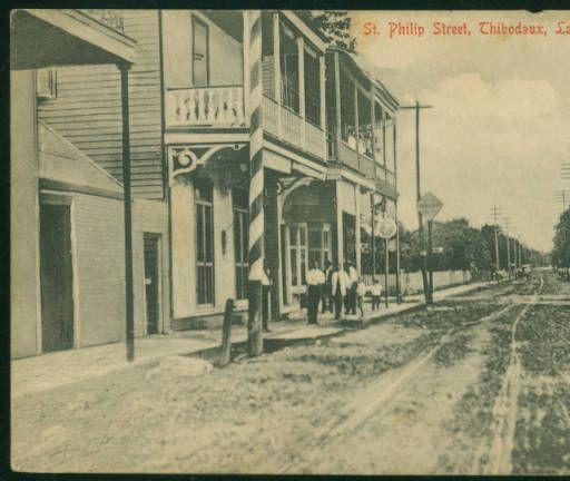 St. Philip Street, Thibodaux, La. 2 :: LSU Libraries Postcard Collections-1910