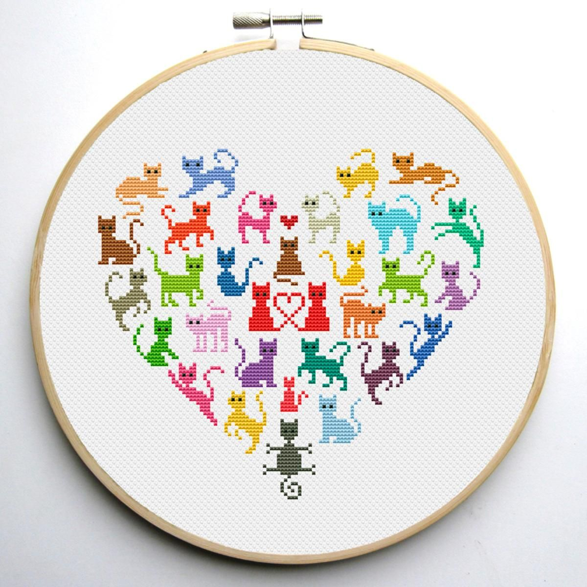 Heart and Cats 2 cross stitch pattern | Cross Stitch Patterns ...