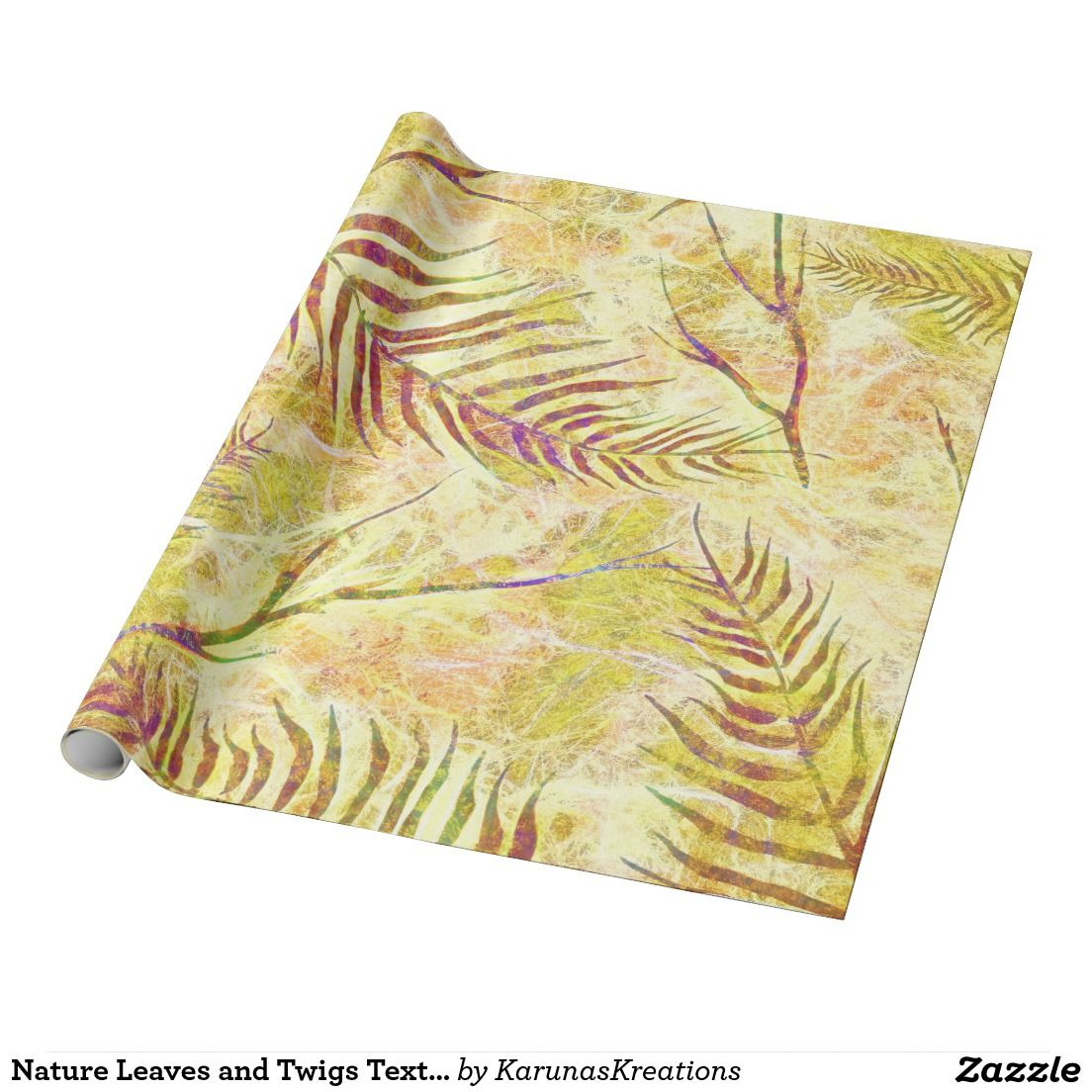 Nature Leaves and Twigs Texture Wrapping Paper