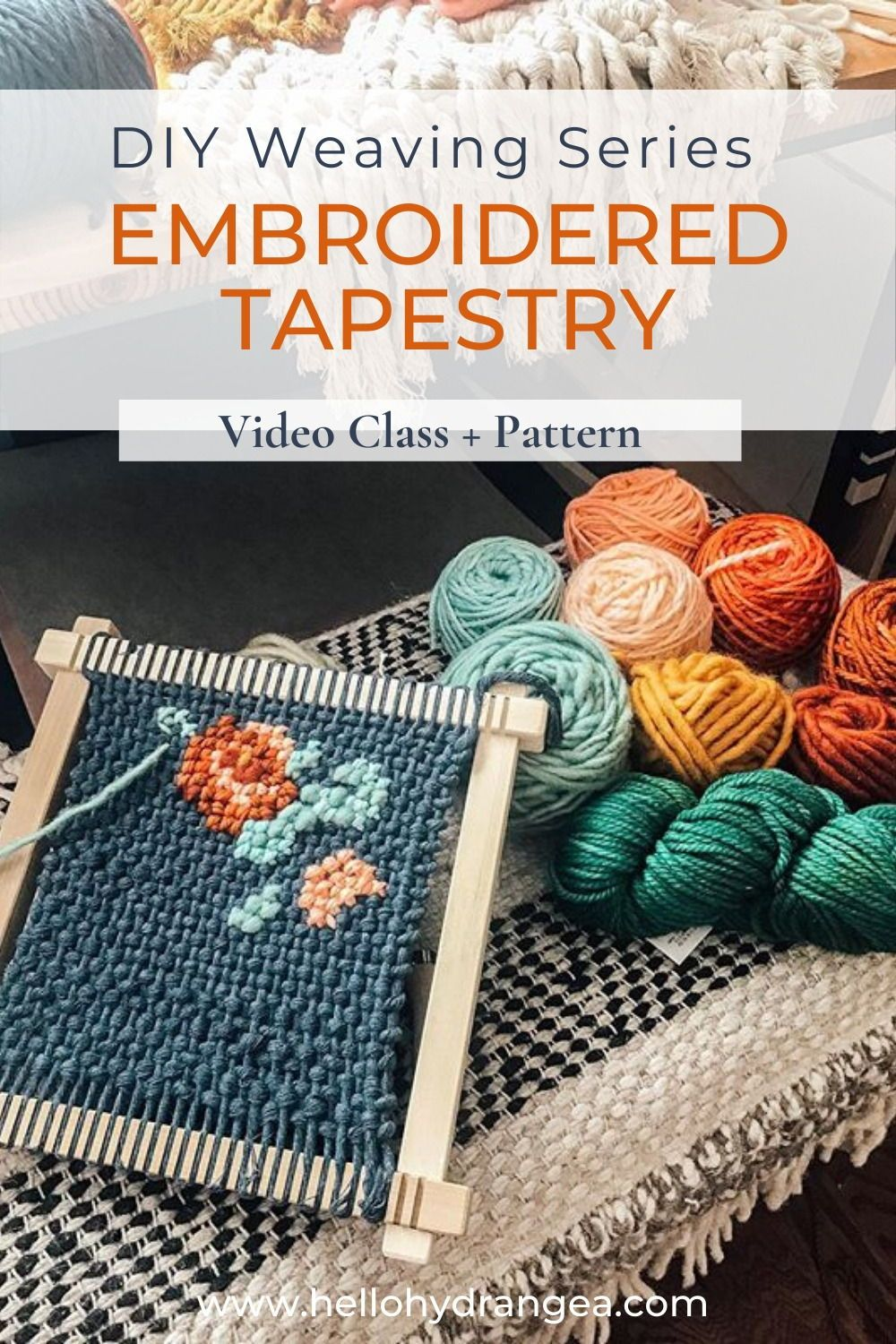 Embroidered woven tapestries is one of my most-requested weaving tutorials. In this weaving video class we are diving deep into how to create a lovely, chunky embroidered tapestry. The class includes three different patterns to try and instructions to make your own so that you can go as big or small as you want! As always, the class comes as a pdf ebook with links to videos and a supply list. #hellohydrangea #weavingdiy #fibercrafts #weavingart