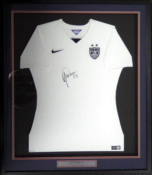 ca89f06f567 Team USA Alex Morgan Autographed Framed White Nike Jersey PSA DNA ...