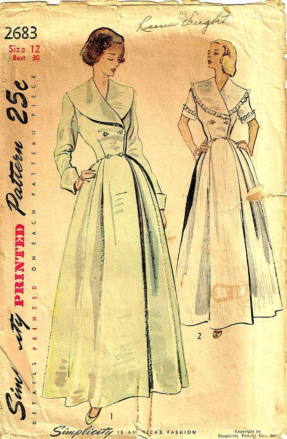 Vintage 1940s Double Breasted Robe Housecoat Simplicity 2683 ... 87b84c5a8