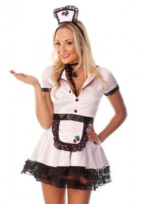 1950's Pin-Up Waitress Dress $70.00 Includes: Dress with petticoat (4 later skirt with zipper) Apron Scarf