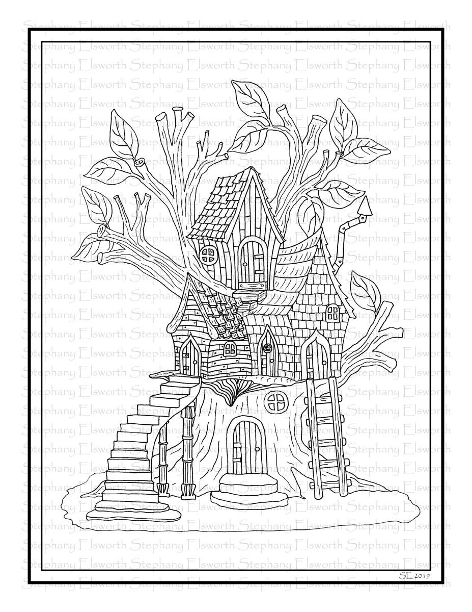 Fairy Treehouse Printable Coloring Page Color With Steph Fairy Coloring Book Coloring Pages House Colouring Pages